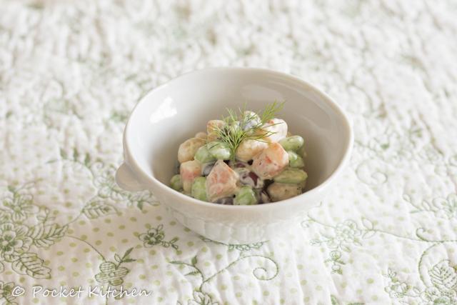 海老と豆とハーブのサラダ